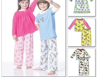 KIDS SLEEPWEAR PATTERN / Sale! / Pajamas and Nightgowns For Boys and Girls / Size 1 - 3 or 4 - 6