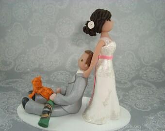Bride Dragging Groom Custom Wedding Cake Topper