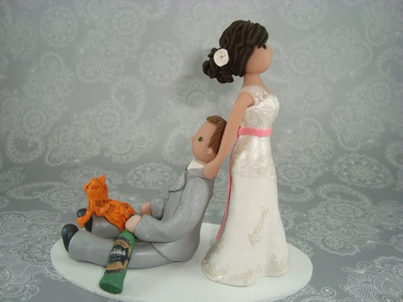 bride dragging groom wedding cake toppers dragging groom custom wedding cake topper 12132
