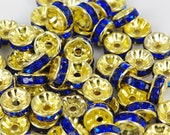 Vintage 10 Gold Plated Deep Rich Sapphire 8mm Crystal Spacer Beads GR8
