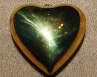 Vintage 1 Victorian Shiny Puffy Brass Heart with Bale 42x42MM AR2