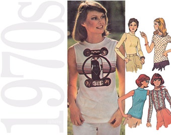Vintage Sewing Pattern - Womens T Shirt Sewing Pattern - Misses Stretch Top Pattern - 1970s Vintage Top Pattern - McCalls 4568