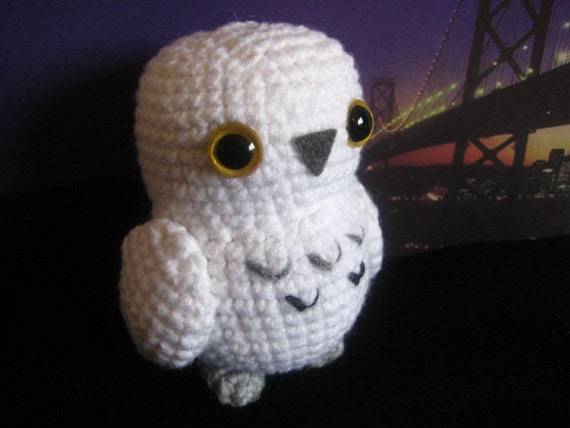 Crochet Pattern For Pikachu Doll : Snowy White Owl Amigurumi Doll Premade Toy