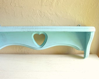 Shabby Chic Turquoise Wood Wall Shelf with Heart Wooden Rustic