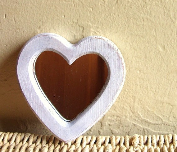 SALE Shabby Chic White Wooden Heart Mirror Distressed Wood