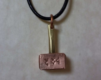 Thor's Hammer pendant, copper and brass Stamped with Elder Futhark Runes