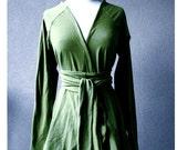 Organic cotton cardigan top, wrap top, green tunic sweater, organic sweatshirt, handmade clothes, made in Canada