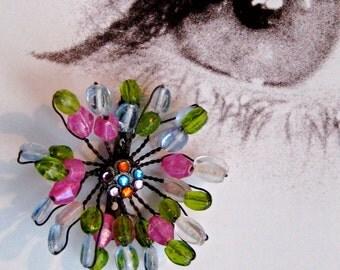 BEADED FLOWER BROOCH, spring brooch, citron green stones, pink stones, multi-colored rhinestones, funky spring pin, purse jewelry, fun gemsm
