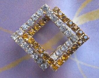 BRONZE and Clear RHINESTONE BROOCH / Vintage Brooch, interlocking square brooch, purse brooch, bronze rhinestones, gift for her, sparkle gem