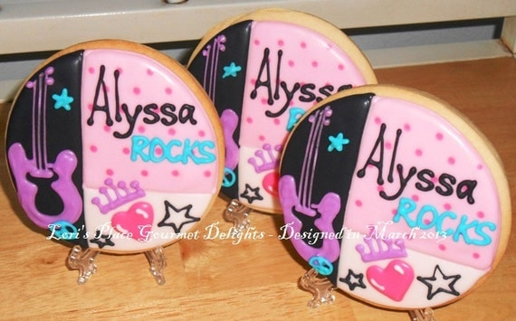 Rock Star Party Favors - Rock Star Cookies - 12 Cookies