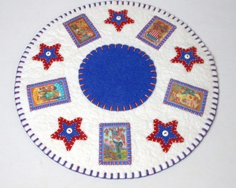 """Hand Sewn Penny Rug with Patriotic Design - 12.75"""""""