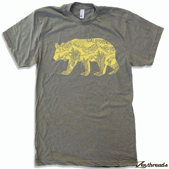 Mens California BEAR T Shirt american apparel S M L XL (16 Color Options)