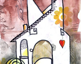 Valentines Heart Home Recycled Hand Painted Greeting Card Blank