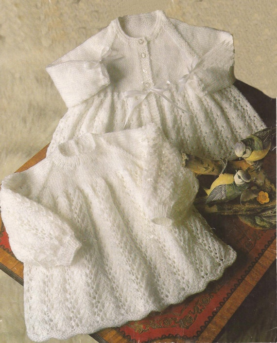 PDF Vintage Knitting Pattern Baby Angel Top and Coat sizes 18