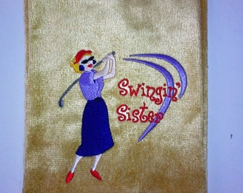 16 x 26 Tri-Fold  terry velour embroidered golf towel - color gold with Red Hat lady golfer