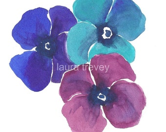 Pansies Watercolor Print