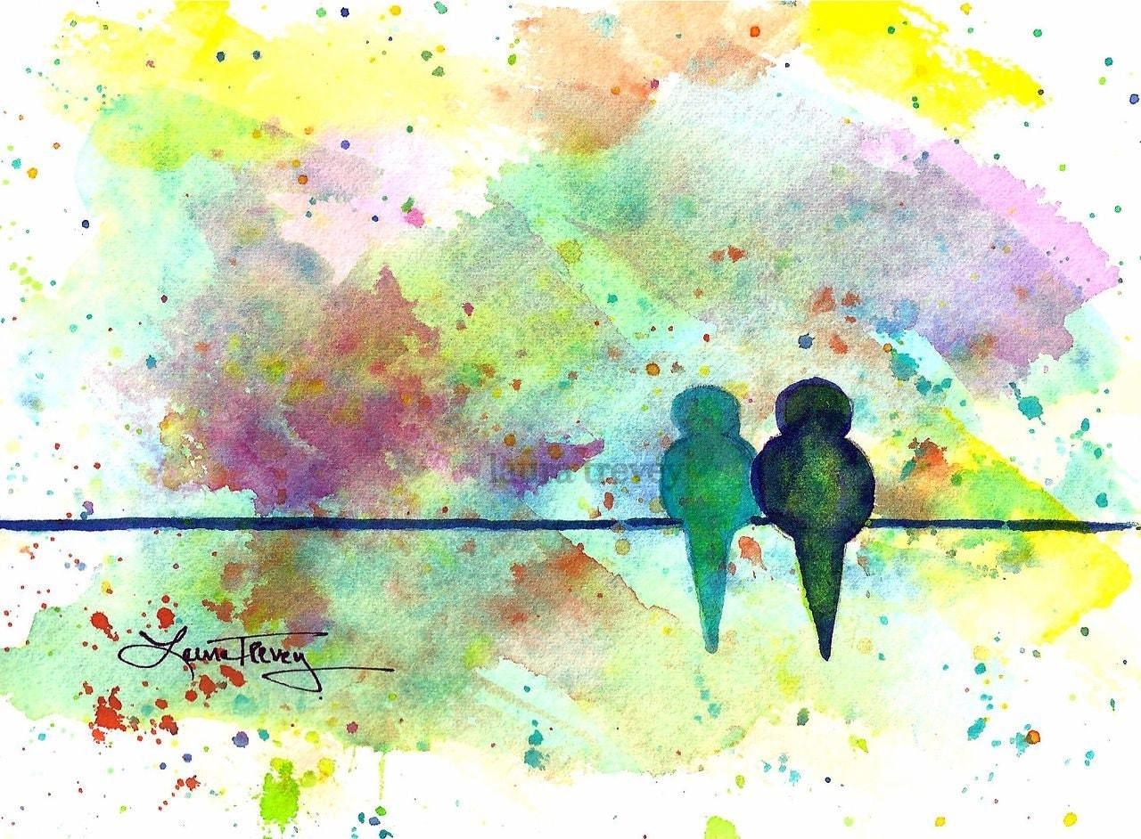 Love Birds Watercolor Print