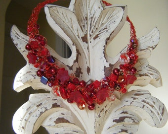 Red Crocheted Wire Necklace