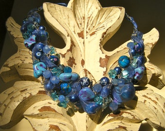 Periwinkle Crocheted Wire Necklace