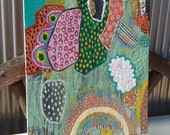 the sUn came through the pines like lemon slivers.  Original mixed media art on u p c y c l e d surface by Roz Inga