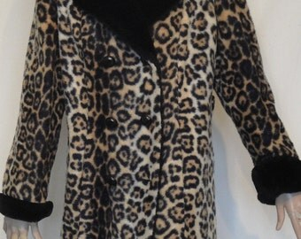 Sale!!!  Fab Vintage 60s Faux Leopard Print Fur Coat Styled by  Davis of Boston B42 Double Breasted
