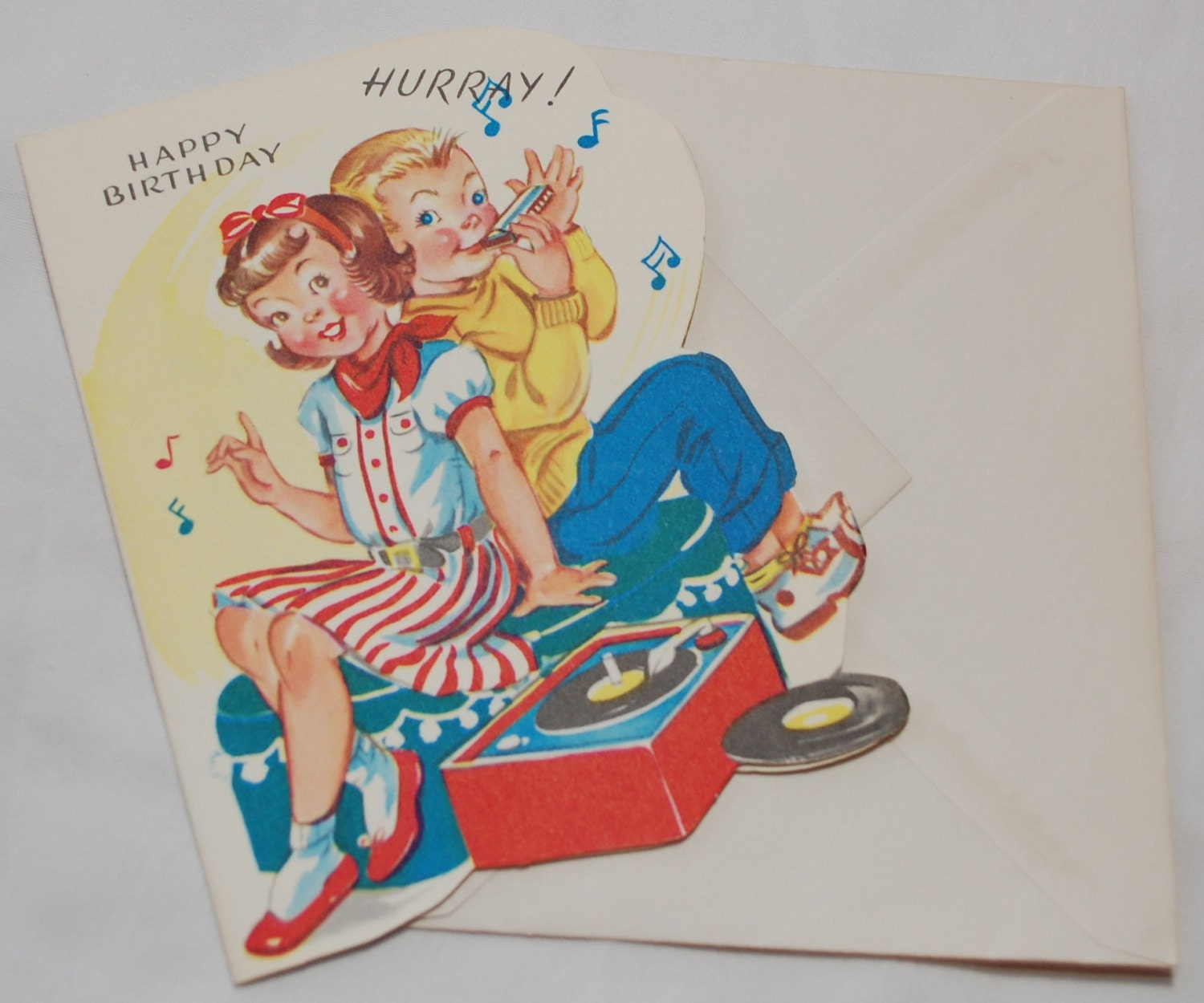 Vintage Birthday Card Boy And Girl Record Player Music UNUSED