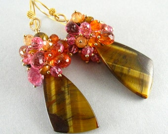 Tigers Eye and Gemstone Cluster Dangle Gold Earrings