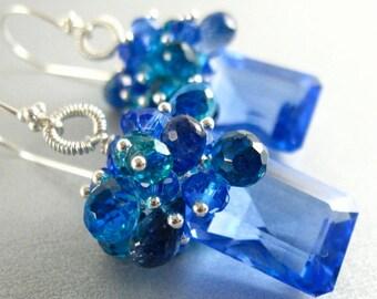 Blue Topaz, Lapis, Apatite and Quartz Gemstone Sterling Silver Earrings
