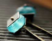 "Boho Electric Blue Earrings, Recycled Aqua Glass, Mixed Metal - ""Belize"" - NighBluey"