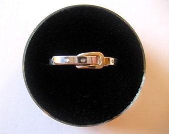 8 size - Belt Buckle Ring Sterling Silver Gold - slightly adjustable