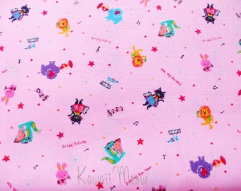 SALE - Cute Cats Animals Melody on Pink - Fat Quarter (u0104)