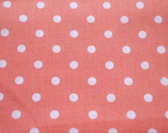 Kawaii Japanese Fabric - Pastel Color Polka Dots on Mandarin Orange - Half Yard (ko0805)