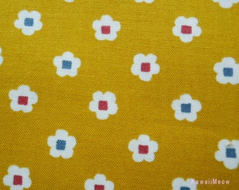 Kimono Japanese Fabric - Petit flower Plum on Yellow - Half Yard (no130505)