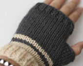 Fingerless Gloves Striped Grey and Cream