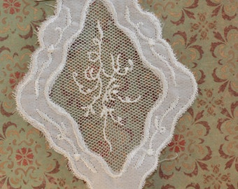 Vintage Pure White Sheer Organza Lace Diamond Shaped Inset Embroidered Panel - undulating leaf Motif (1) Wedding, Romance, Bridal, Victorian