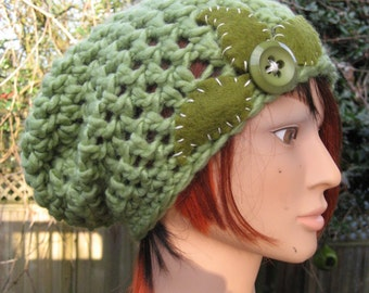 Green Crocheted Slouch Hat 23/13