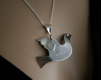 silver dove with  silver heart-peace and love-bird-Handmade-stamped sterling silver dove
