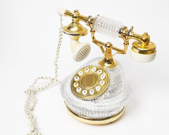 Vintage French Style Crystal And Gold Telephone By