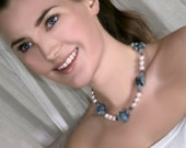 Blue Aquamarine Necklace Raw Gemstone Pearl Necklace Nugget Chunky Statement Necklace March Birthstone