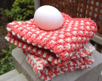 The BEST hand knit two color wash dish cloth pin dot duo cream/off-white & tangerine
