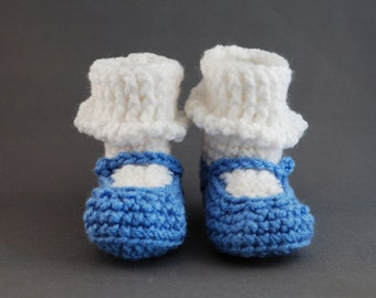 Baby Girl Mary Jane Shoes in Periwinkle Blue with White Sock for Newborns, free shipping