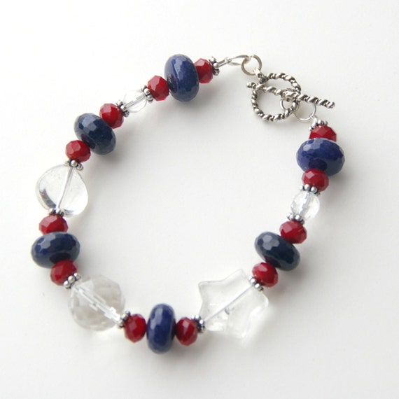 USA Bracelet. Crystal Quartz, Blue Lapis, and Sterling Silver. Red, White and Blue Jewelry