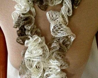 Crochet Sashy scarf, Ruffle scarf, hand crochet for women, young women, and girls, SHUFFLE Rumba Ruffle Scarf (Ready to Ship)