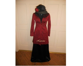 Dress Victorian Edwardian Downton wine jacket costume skirt women burgundy black