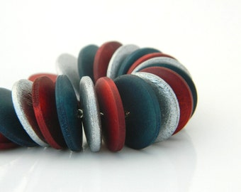 Wood Necklace - Red, Ruby, Teal, Silver, Rustic, Tribal, Circles, Disc, Colorful, Autumn, Fall, Geometry, Warm, Modern, Golden, Night