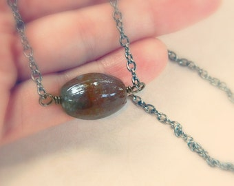 NECKLACE- Wire Wrapped Jasper Pendant - Brown, Gunmetal, Mocca, Chocolate, Bronze, Smoke, Dark, Fall, Autumn, Chain, Jewelry Necklace, Stone
