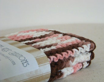 Cotton Dish Cloths, Crocheted Neapolitan. Pink, White, and Brown