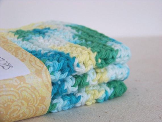 "Wash Cloths, Dish Cloths, Cotton - Aqua blue green yellow - Crocheted 3 Piece Set ""Waterlily"""