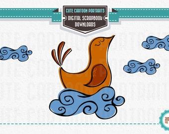 Instant Download - Retro Chicken Bird on a cloud- Cute Clip Art Digital Collage Sheet