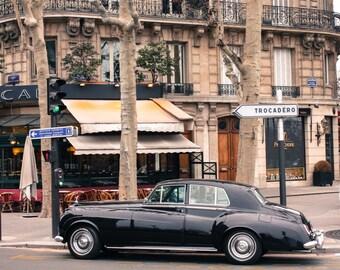 Paris Photography - Morning Cafe Stop in Paris, France, Paris Cafe, Vintage Car in Paris, Paris Street Photography, Paris Decor